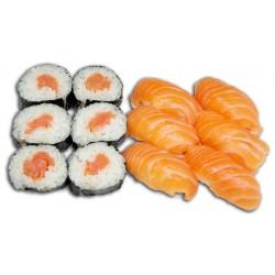 Sushis : Nigiris et Makis saumon 12 pièces